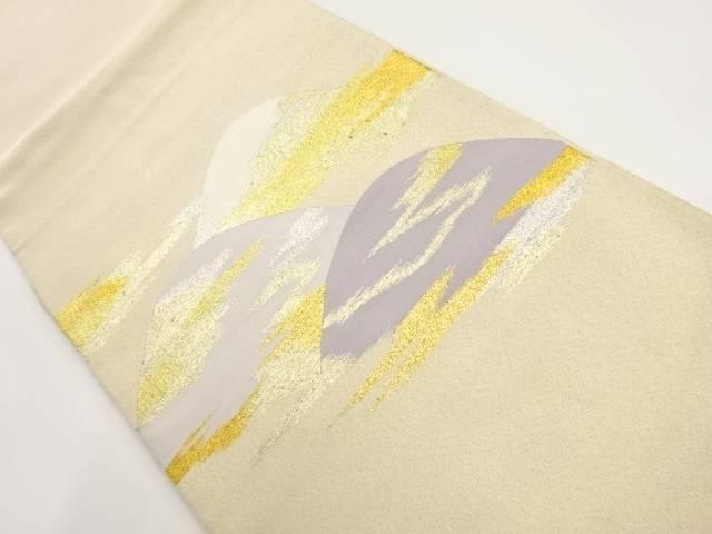 綴れ遠山に霞模様織出し袋帯【リサイクル】【中古】