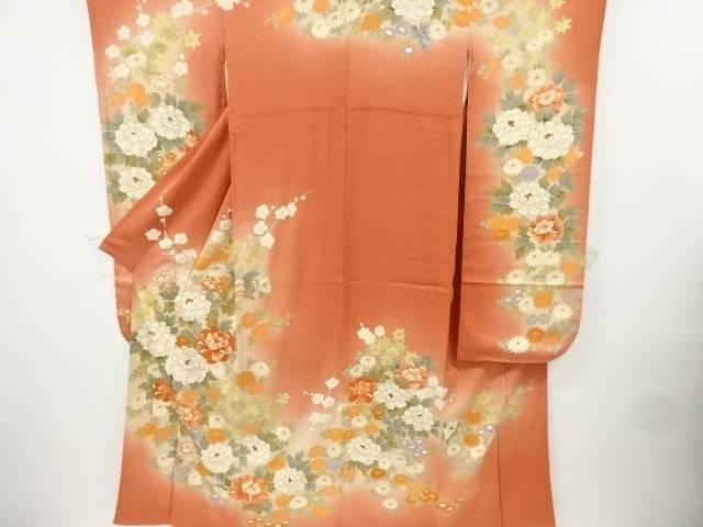 金彩牡丹・菊・枝梅模様刺繍振袖【リサイクル】【中古】