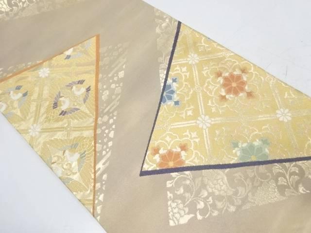 斜め格子に向かい鶴・草花模様織出し袋帯【リサイクル】【中古】