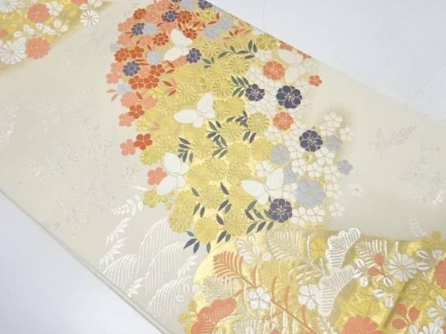 山並みに蝶・草花模様織出し袋帯【リサイクル】【中古】