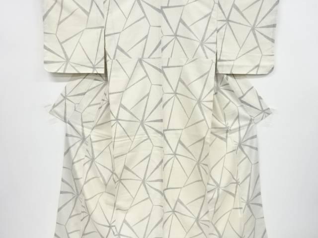未使用品 変わり麻の葉模様手織り真綿紬着物【リサイクル】【中古】