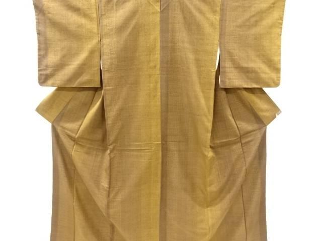 縞に亀甲絣織り出し手織り真綿紬着物【リサイクル】【中古】