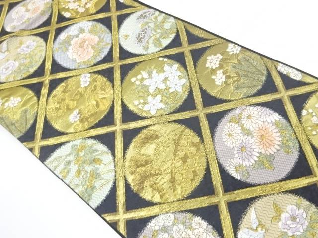 未使用品 志織製 格天井に花鳥模様織出し袋帯【リサイクル】【中古】