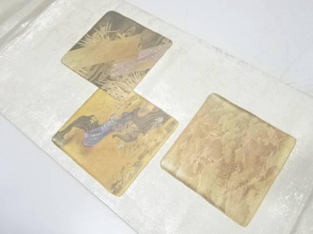 螺鈿色紙に流水・松風景模様袋帯【リサイクル】【中古】