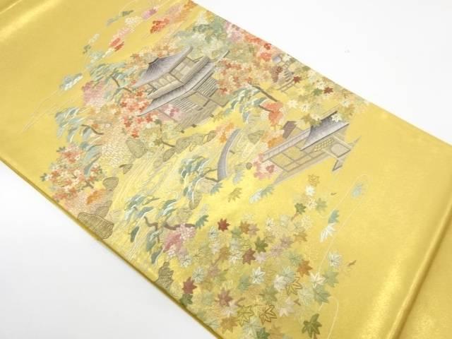 屋敷風景模様刺繍袋帯【リサイクル】【中古】