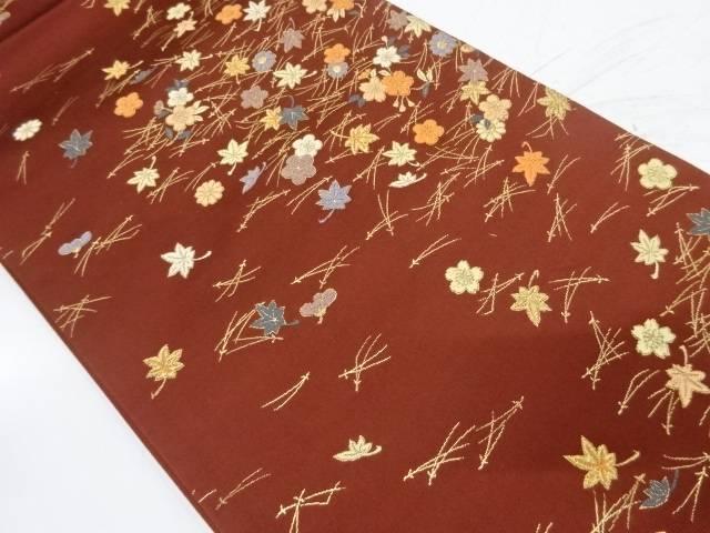 松葉に桜・紅葉模様織出し袋帯【リサイクル】【中古】
