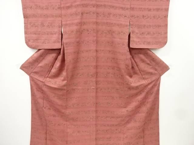 変わり織り横段に花更紗模様小紋着物【リサイクル】【中古】