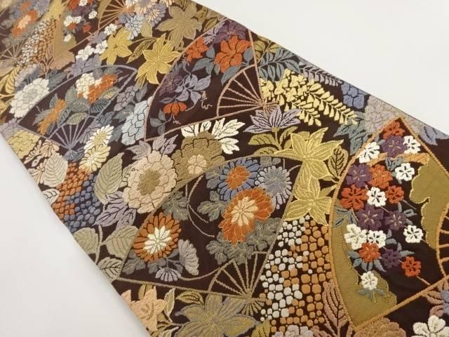 唐織扇面に春秋草花模様織り出し袋帯【リサイクル】【中古】