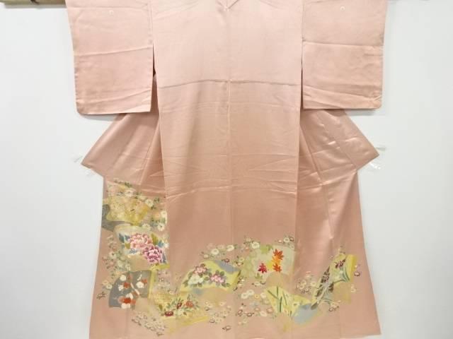 扇面に枝梅・牡丹・椿・楓模様刺繍三つ紋色留袖【リサイクル】【中古】