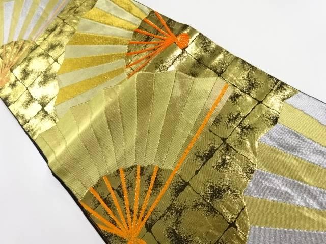 川島織物製 屏風箔に扇模様織り出し袋帯【リサイクル】【中古】
