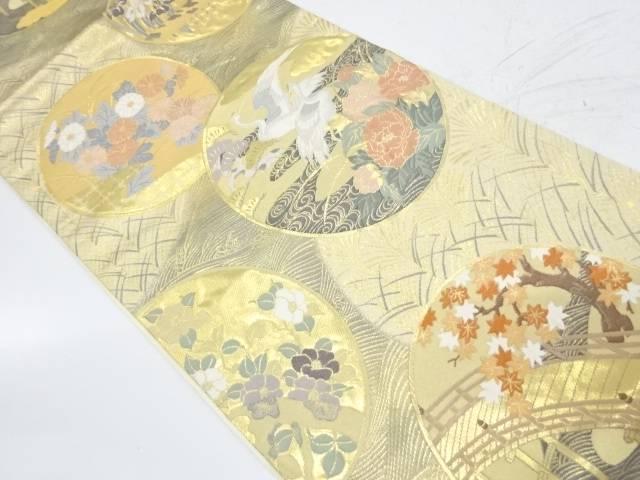 純金二重箔琳派花鳥絵図模様織出し袋帯【リサイクル】【中古】