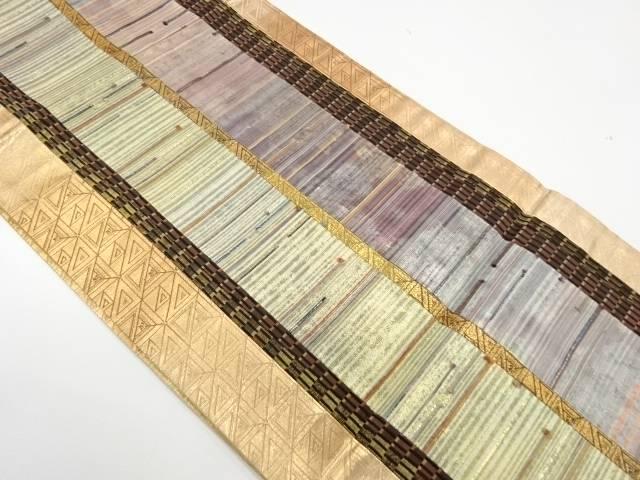 切り嵌めに抽象模様織出し全通袋帯【リサイクル】【中古】