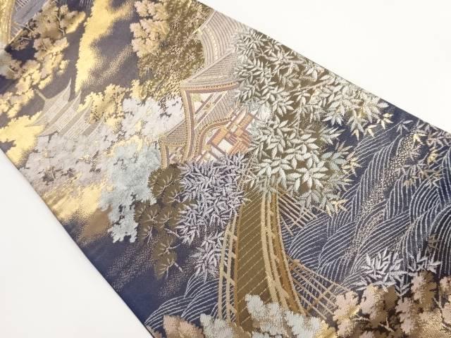 本金箔二重織嵐山風景模様織り出し袋帯【リサイクル】【中古】