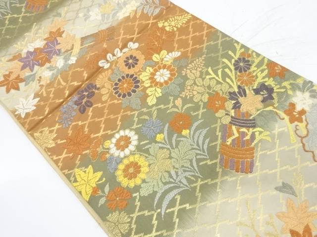 唐織草花に萩模様織出し袋帯【リサイクル】【中古】