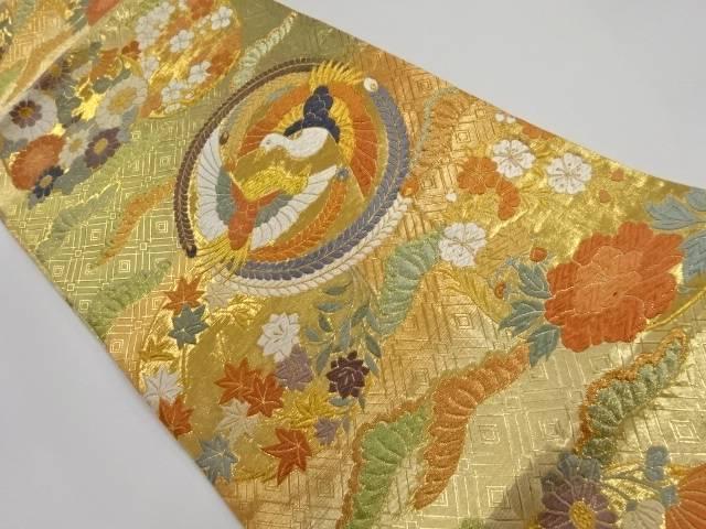 佐賀錦丸紋に花鳥模様織り出し袋帯【リサイクル】【中古】