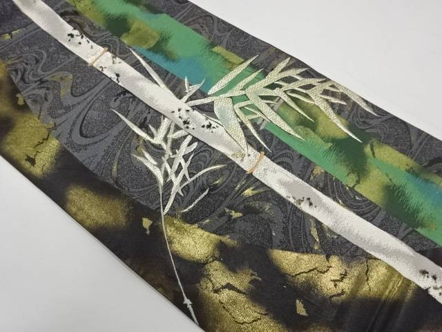 流水に竹笹模様織出し袋帯【リサイクル】【中古】
