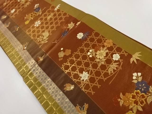 金糸籠目に桜蝶模様織り出し袋帯【リサイクル】【中古】