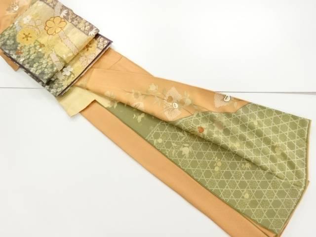 金彩友禅籠目に橘・地紙模様刺繍訪問着・袋帯セット【リサイクル】【中古】