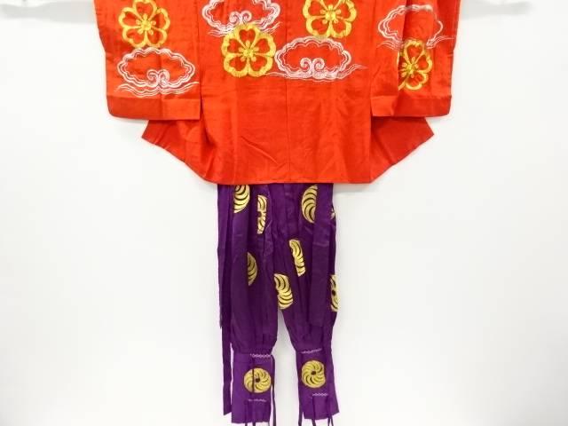時代衣装羽二重花に雲模様刺繍着物上下セット【アンティーク】【中古】