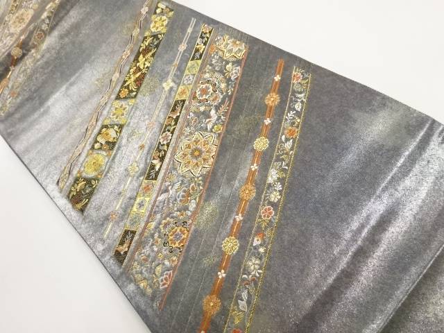青銅箔斜め縞に花鳥更紗模様織り出し袋帯【リサイクル】【中古】