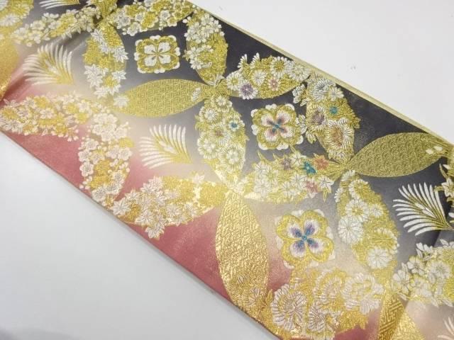 七宝に花模様織出し振袖用リバーシブル袋帯【リサイクル】【中古】