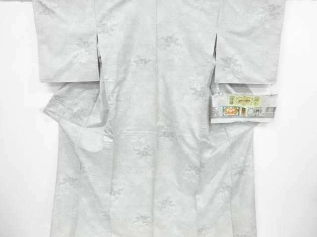久宝のおりもの製 蘭模様織り出し本場白大島紬単衣着物(7マルキ)【リサイクル】【中古】