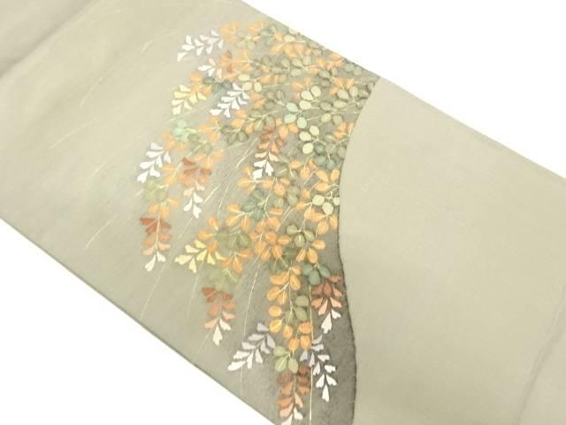 萩模様織出し袋帯【リサイクル】【中古】