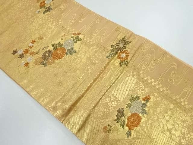 未使用品 市松に扇・花模様織出し袋帯【リサイクル】【中古】