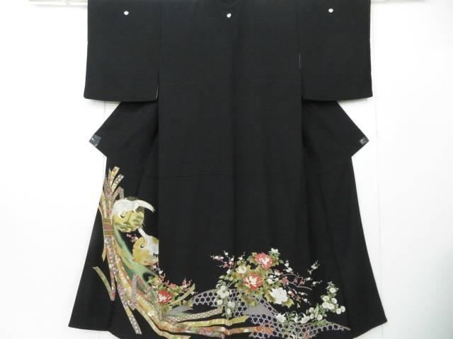 黒留袖 籠目・霞に熨斗・雪輪に飛鶴文 着物【リサイクル】【中古】