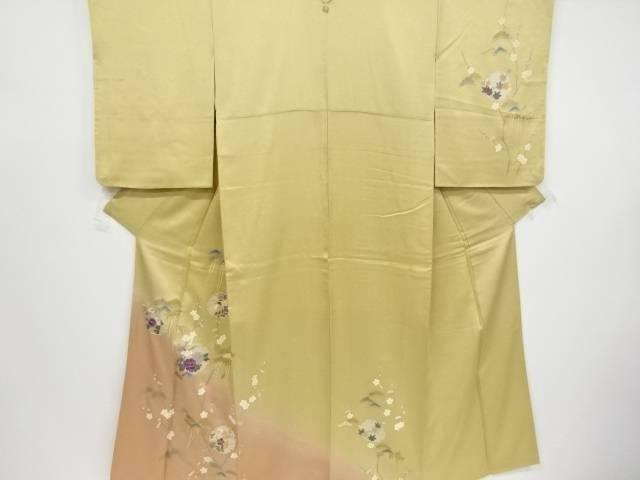 金彩雪輪に牡丹・菊・桔梗模様刺繍一つ紋訪問着【リサイクル】【中古】