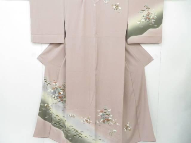 訪問着 刺繍 秋草花文 着物【リサイクル】【中古】