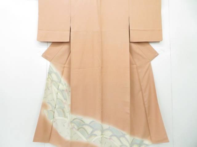 色留袖 訪問着仕立て 金駒刺繍 菊青海波文 紗綾形地紋 着物【リサイクル】【中古】
