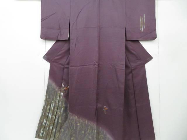 付下げ 刺繍 竹に秋草花文 着物【リサイクル】【中古】