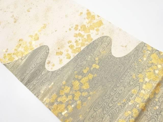 金糸流水に糊散らし模様織出し袋帯【リサイクル】【中古】