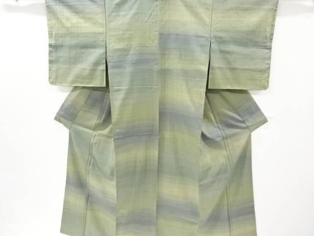 未使用品 生紬横段織り出し着物【リサイクル】【中古】