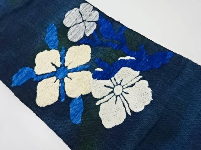 手織り真綿紬リボン織枝花模様織り出し名古屋帯【リサイクル】【中古】