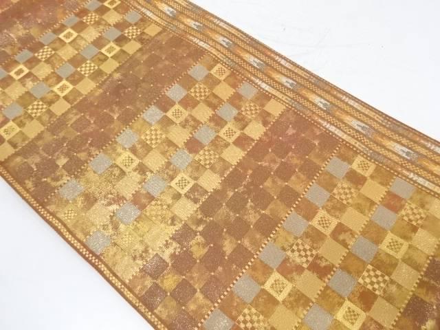 横段に変わり市松模様織出し袋帯【リサイクル】【中古】