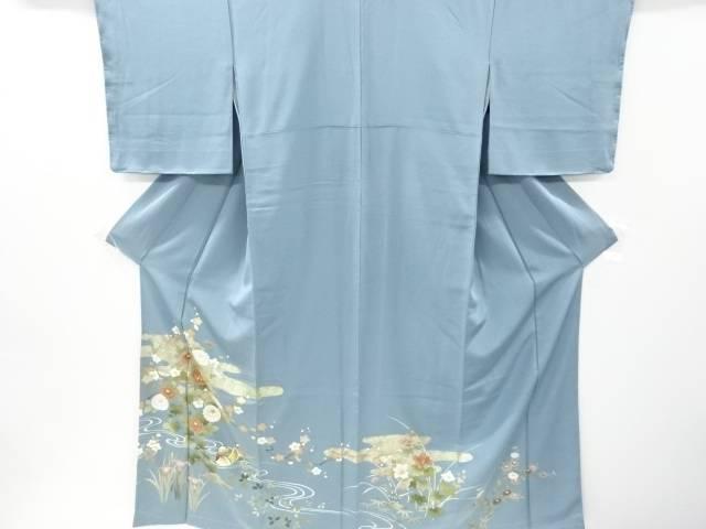 未使用品 流水に枝花・鴛鴦模様刺繍一つ紋色留袖【リサイクル】【中古】