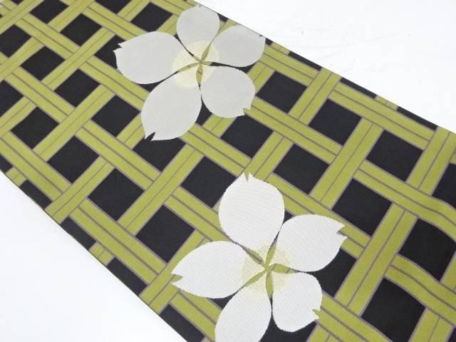 ジュサブロー 変わり格子に桜模様織出し袋帯【リサイクル】【中古】