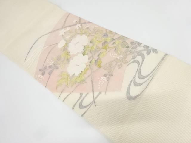 未使用品 絽綴れ流水に秋草・牡丹模様織出し袋帯【リサイクル】【中古】