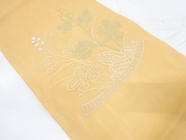 紗 草花模様織出し袋帯【リサイクル】【中古】