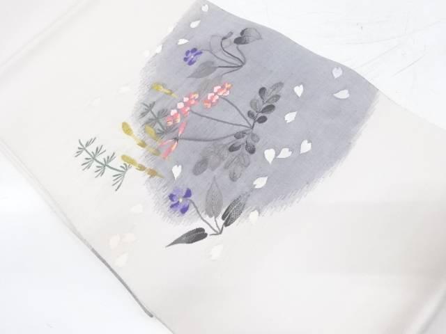 綴れつくしに草花・桜散らし模様織出し袋帯【リサイクル】【中古】