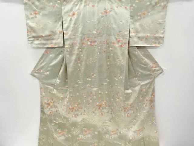 未使用品 仕立て上がり 金彩荒波に橋・菊・枝垂れ桜模様訪問着
