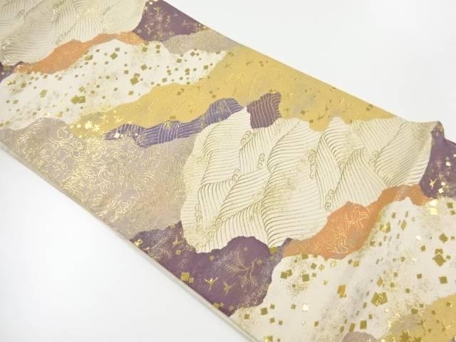 金糸霞に波・のり散らし模様織出し袋帯【リサイクル】【中古】