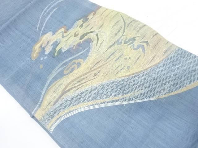 すくい織荒波模様織出し袋帯【リサイクル】【中古】