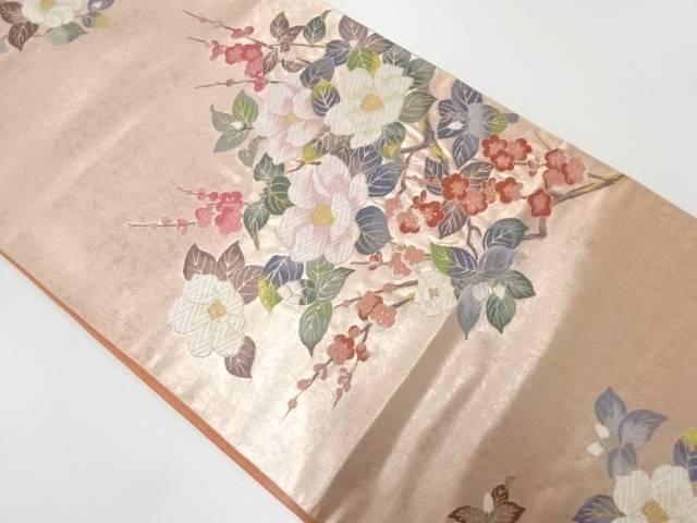 引箔枝梅に椿模様織出し袋帯【リサイクル】【中古】