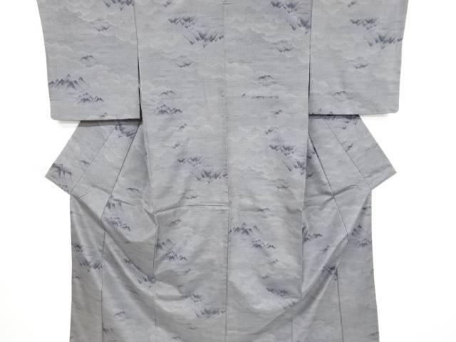 遠山に雲模様織り出し本場泥大島紬着物(9マルキ)【リサイクル】【中古】