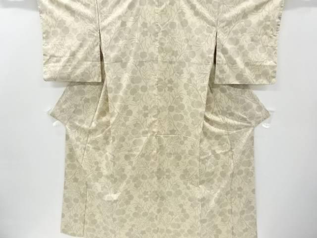 抽象草花模様織り出し本場大島紬着物(5マルキ)【リサイクル】【中古】