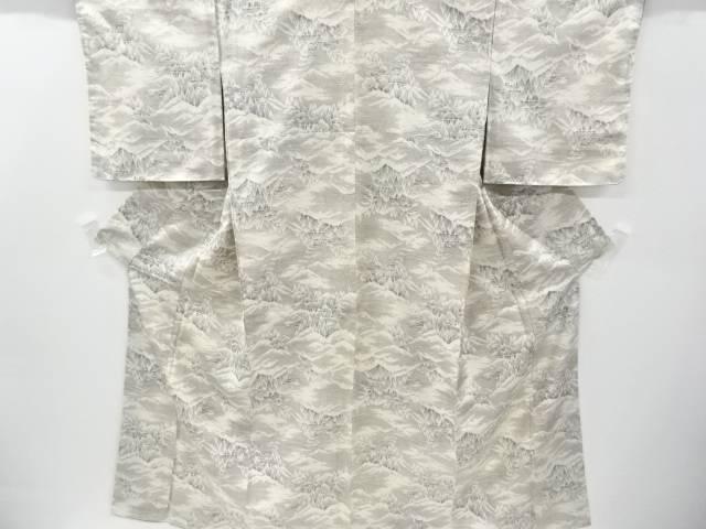 未使用品 遠山に樹木模様織り出し手織り紬着物【リサイクル】【中古】
