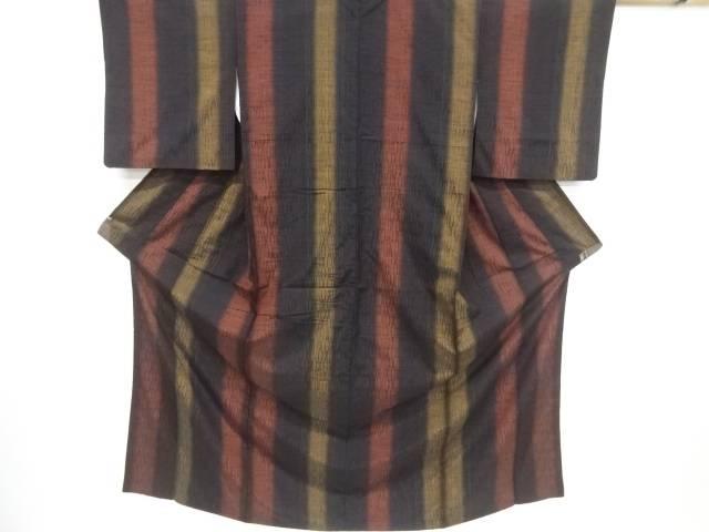 縞織り出し手織り節紬着物【リサイクル】【中古】